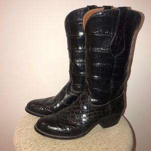 NWOT FULL GATOR Black Custom Cowboy Boots AMMONS